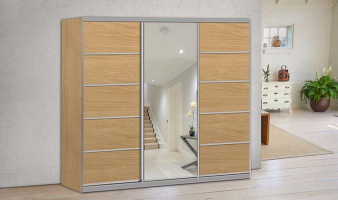 ארון הזזה ארז 3 דלתות עם מראה