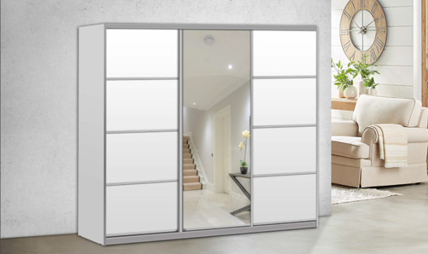 ארון הזזה ארז 3 דלתות עם מראה רוחב 180