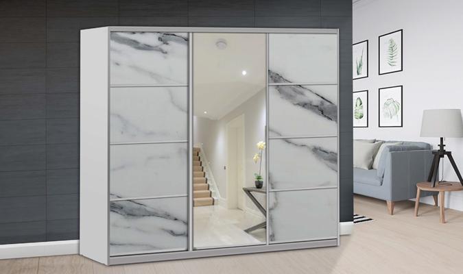 ארון הזזה אלמוג 3 דלתות עם מראה