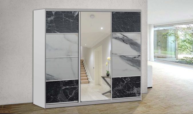 ארון הזזה אלבר 3 דלתות עם מראה