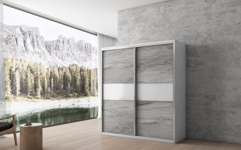 ארון הזזה ארז שילוב זכוכית 2 דלתות