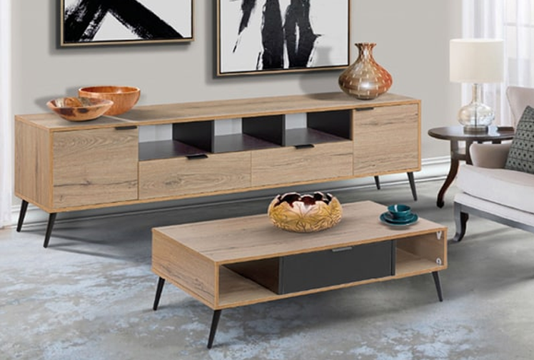 מזנון ושולחן לסלון מעץ
